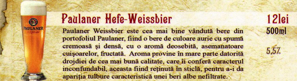 Bere Draught Paulaner Hefe Weissbier