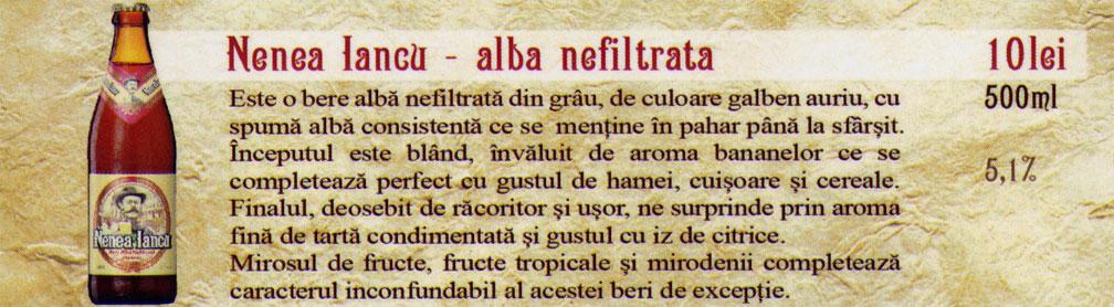 Berea Nenea Iancu Alba Nefiltrata la sticla