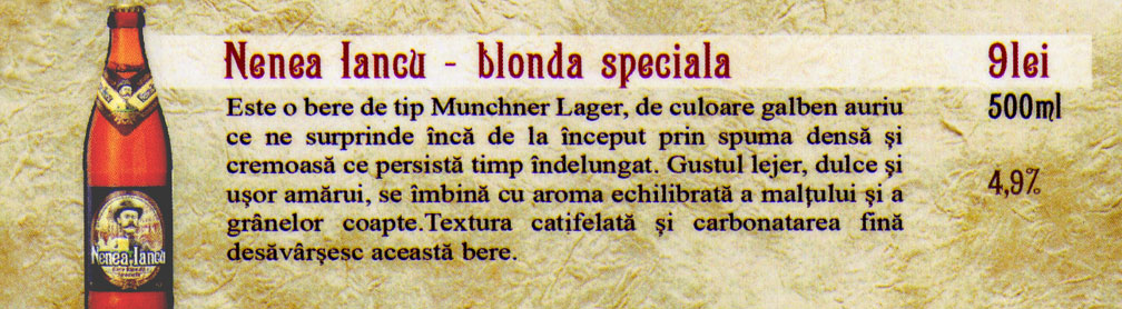 Berea Nenea Iancu - Blonda Speciala - la sticla