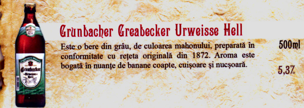 Bere Grunbacher Greabecker Urweisse Hell