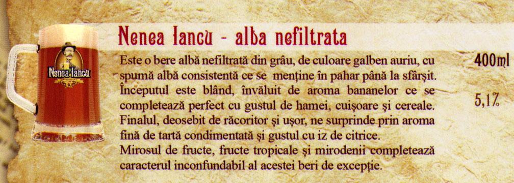 Nenea Iancu - Bere Alba Nefiltrata Draught