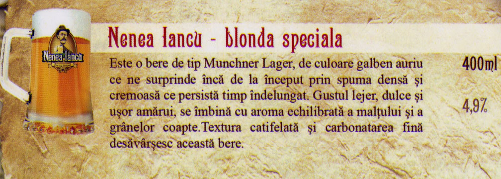 Nenea Iancu Bere Blonda Speciala Draught