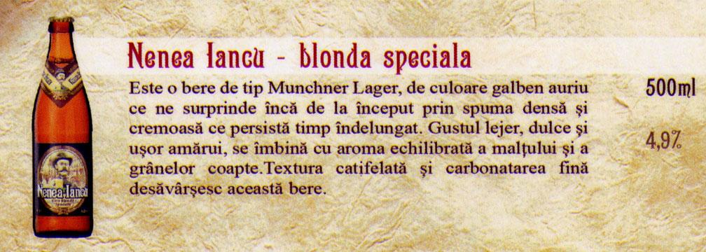 Bere Nenea Iancu Blonda Speciala la sticla