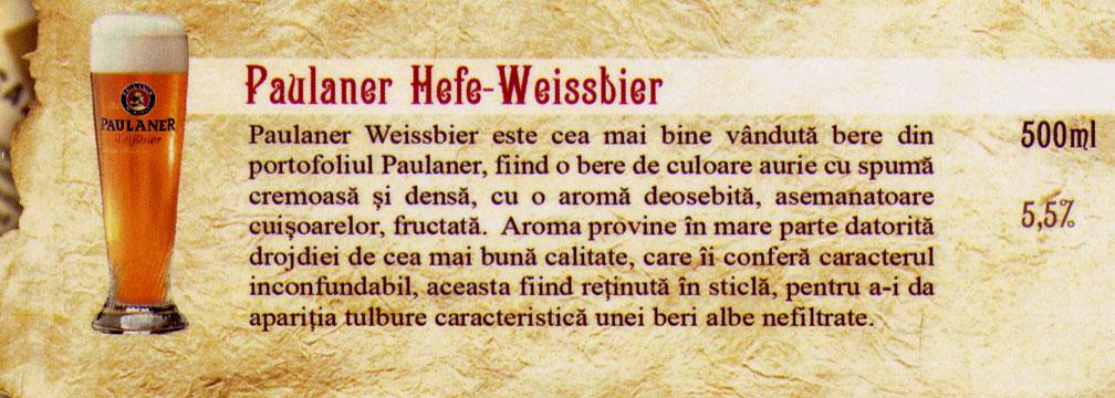 Bere Paulaner Hefe Weissbier Draught