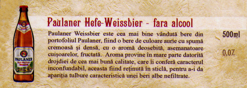 Bere Paulaner Hefe Weissbier fara alcool
