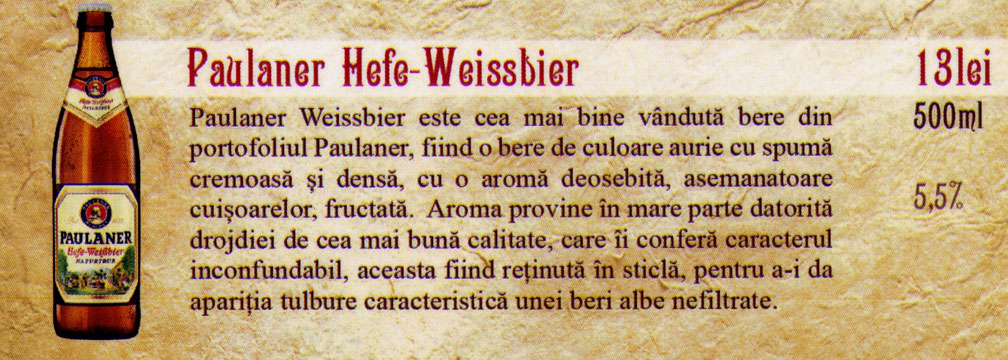 Bere Paulaner Hefe Weissbier la sticla